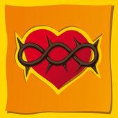 Kalp, bir hıristiyan sembolü — Stok Vektör