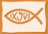 Fish, a Christian symbol — Stock Vector