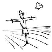 Scarecrow and bird — Stock Vector
