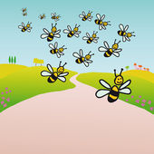 Bees in the countryside — Stock Vector