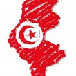 Sketch map flag Tunisia - Stock Vector