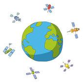 Mondo e satelliti — Vettoriale Stock