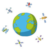 World and satellites — Stock Vector