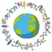 Mundo y satélites — Vector de stock
