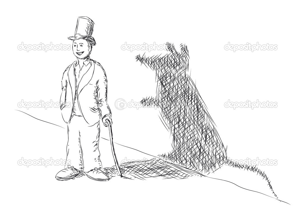 Vector illustration  of a person and a shadow of a  mouse — Stock Vector #12056303