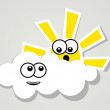 Fun clouds and sun. — Stock Vector