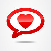 Red heart shape button — Stock Vector
