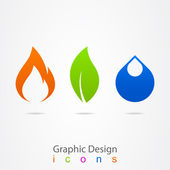 Graphic design drop leaf flame logo — Stock Vector