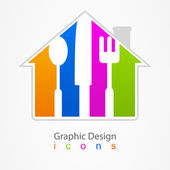 Graphic design kitchen web icon. — Stock Vector