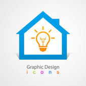 Casa di design grafico logo lightbulb. — Vettoriale Stock