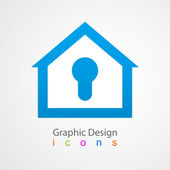 Graphic design logo lock house. — Stock Vector