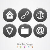 Graphic design set business icons buttons. — Stock Vector