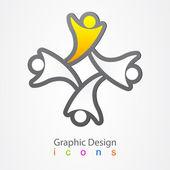 Icône de réseau social de graphisme. — Vecteur
