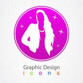 Graphic logo dizaun girl. — Stock Vector