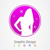 Graphic logo dizaun girl. — Vettoriale Stock