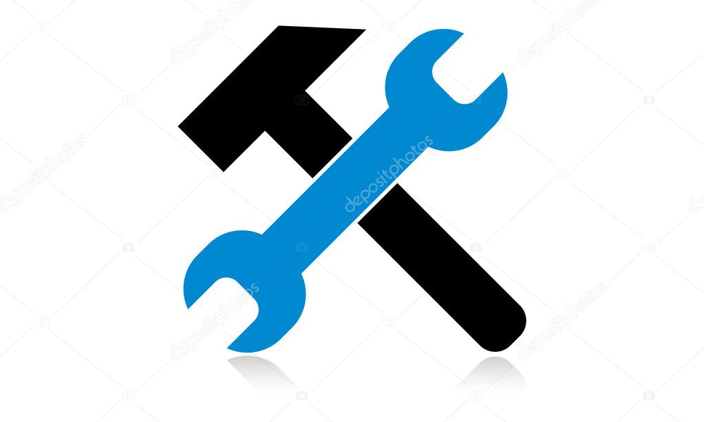 Hammer Icon Key and hammer icon   Vector