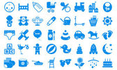 Set child icons blue tones. — Stock Vector