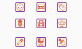 Set of childrens icons stylized mark. — Stock Vector