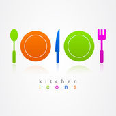 Kitchen set of business logo color — Stock Vector