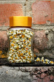 Camomile flowers in glass jar — Stock Photo