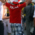 Poland football fan — Stock Photo