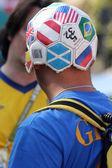 Football fan in funny hat — Stock Photo