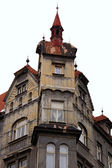 Old house with a turret in winter Prague — Stock Photo