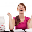 Successful female student with raised arms — Stock Photo #11983235