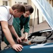 Постер, плакат: Two auto mechanics working with car