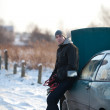 Man with broken car in winter — Stock Photo #11989090