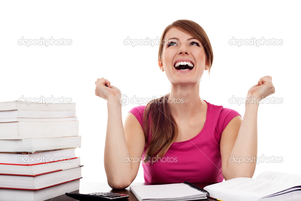 Successful female student with raised arms Isolated on white — Stock Photo #11983235