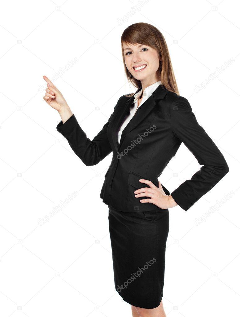 Businesswoman pointing. Isolated on white background. — Stock Photo #11983682