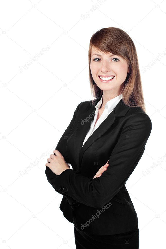 Woman smiling with crossed arms Isolated on white background — Stock Photo #11983697