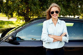 Woman and her new car — Stock Photo