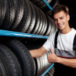 Auto mechanic recommend tire. Thumbs up — Stock Photo #12208140