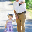 Grandfather and granddaughter — Stock Photo