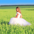 Bride on a field of wheat - Stock Photo