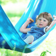 Little girl on a hammock — Stock Photo