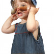 A beautiful little girl with big glasses — Stock Photo