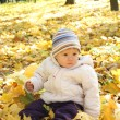 Beautiful little girl in autumn park — Stock Photo #11497824