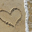 Heart in sand - Foto de Stock