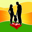 Silhouette of a family with a heart — Stock Photo