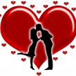 Silhouette of couples with hearts — Stock Photo #11497985