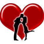 silhouette de couples avec coeurs — Photo
