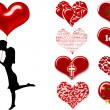 Silhouette of a couple with hearts — Stockfoto