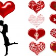Silhouette of a couple with hearts — Stock Photo #11498001