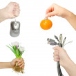 Hands with different objects — Stock Photo