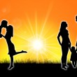 Silhouette of a family — Stock Photo