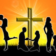 Stock Photo: Silhouette of a family with a cross