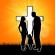 Silhouette of a family with a cross — Stock Photo